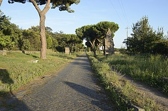 Historic roads and trails - The Roman Appian Way, near Casal Rotondo, to the southeast of Rome, Italy.