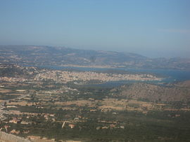 View of the town of Argostoli (in the front) from St George's Castle.
