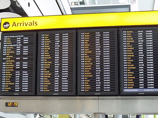 Arrivals board, Heathrow T5, April 16 2010