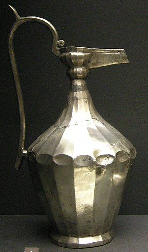 "Esquiline Treasure - The Pelegrina Ewer; her name can be seen at the widest point, across the three ""dimples"" to the right"