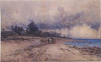 Arthur Merric Boyd - A.M.Boyd, 1900 (gathering seaweed before the storm, Sandringham beach)