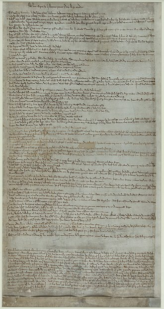 Magna Carta - The Articles of the Barons, 1215, held by the British Library