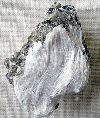 Asbestiform tremolite, part of the amphibole group in the inosilicate subclass Asbestos with muscovite.jpg