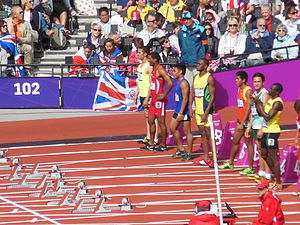 Masoud Azizi - Before the start of heat 4 of the 100 m at the 2012 Summer Olympics