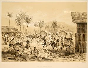 Jolo - French explorer Jules Dumont d'Urville visiting the Sultan of Jolo