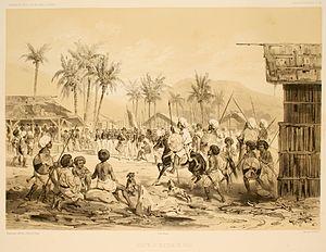 Jolo - French explorer Jules Dumont d'Urville visiting the Sultan of Jolo
