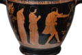 Attic red-figure skyphos, Odysseus slays the suitors of his wife Penelope, from Tarquinia (Italy), around 440 BC, Altes Museum Berlin (13718420225) glare-reduced white-bg.png