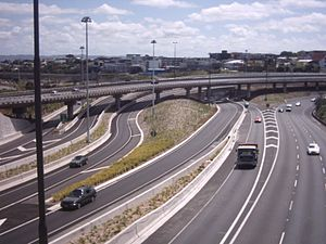 Central Motorway Junction - Southern section of the new CMJ from the Upper Queen Street bridge.