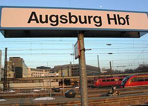 Augsburg Hauptbahnhof - Station sign