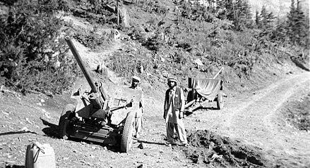 Mujahideen with two captured artillery field guns in Jaji, 1984 August 1984 - captured field guns in Jaji, Paktia.jpg