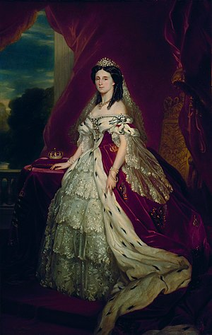 Order of Louise - Kaiserin Augusta, wearing the Prussian state regalia, and the Order of Louise (on her left shoulder). Portrait by Franz Xavier Winterhalter, ca. 1861