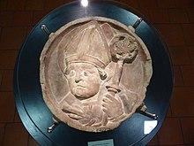 Schlussstein mit Augustinus-Porträt, aus dem Augustinerkloster Erfurt (Quelle: Wikimedia)