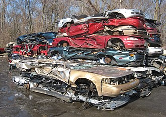 Wrecking yard - Crushed cars stored at a scrapyard