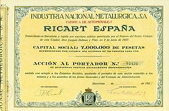 Wifredo Ricart - Share of Ricart-España, issued June 1927
