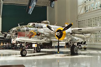 Evergreen Aviation & Space Museum - A B-25 Mitchell bomber on the main floor of the museum.