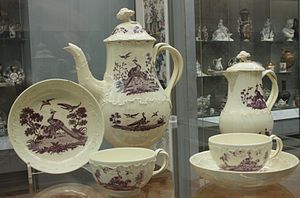 Creamware - Image: BLW Tea and coffee service, Staffordshire