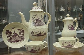 Transfer printing - A transfer-printed Wedgwood tea and coffee service. c. 1775, Staffordshire, Victoria & Albert Museum.