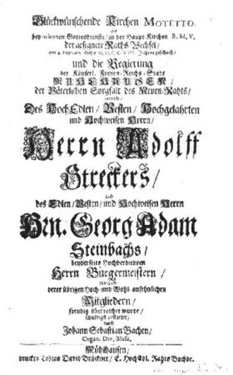 Gott ist mein König, BWV 71 - Title page of the first edition, Bach's only cantata with an extant print