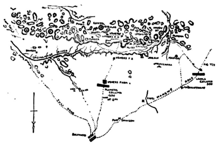 Map of Bulawayo-Matobo Hills, drawn by Baden-Powell Badenpowell matobos map1896.png