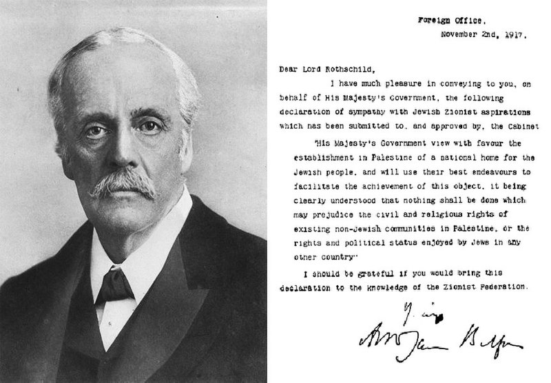 ملف:Balfour portrait and declaration.JPG