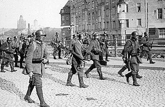Battle of Helsinki - German troops in the Kamppi district.