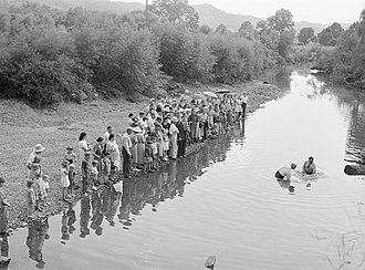 Appalachia - Baptism in Morehead, Kentucky, photographed by Marion Post Wolcott in 1940