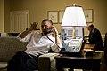 Barack Obama in Phnom Penh talking to Benjamin Netanyahu.jpg