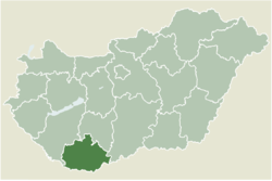 Location of Baranya county in Hungary