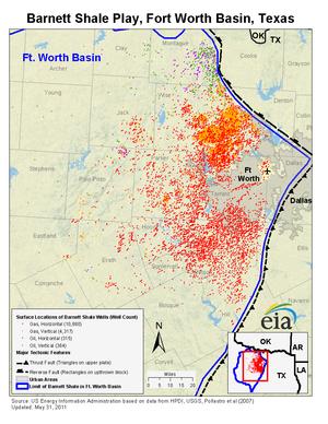 Barnett Shale - Map of gas wells in the Barnett Shale, Texas