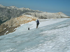Baranof Cross-Island Trail - A group of two crossing the icefield on Mt. Bassie.