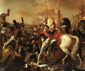 Battle of Ratisbon - Napoleon wrongly depicted as being injured in his right foot