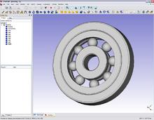 Modello 3D di un cuscinetto a sfere eseguito su FreeCAD 0.10 (versione Windows).