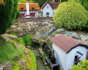 Bekonscot - Watermill with Barley Corn Pub in background