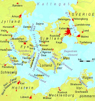 Great Belt - Straits of Denmark and southwestern Baltic Sea. The Great Belt (labelled with its Danish name Storebælt) is slightly left of center