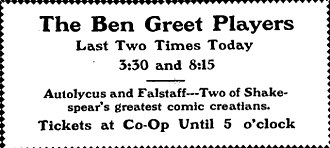 Ben Greet - Advertisement in the Daily Illini for the Ben Greet Players