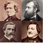 Imágenes de cabeza y hombros de cuatro hombres de mediana edad del siglo XIX.