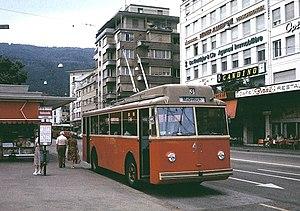 Trolleybuses in Biel/Bienne - Image: Berna built trolleybus in Biel, 1979