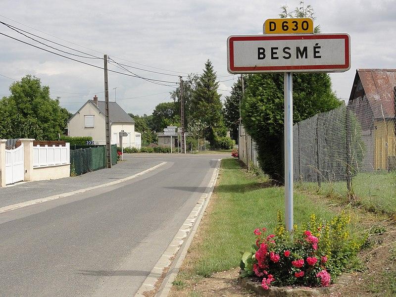 Besmé (Aisne) city limit sign
