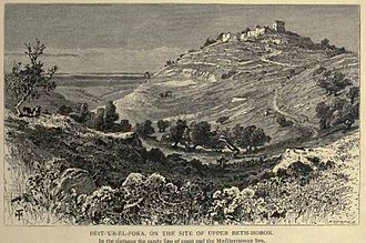 Battle of Beth Horon (66) - Upper Bet Horon, drawing from 1880