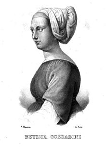 lithograph of a young woman in a mediaeval head-dress
