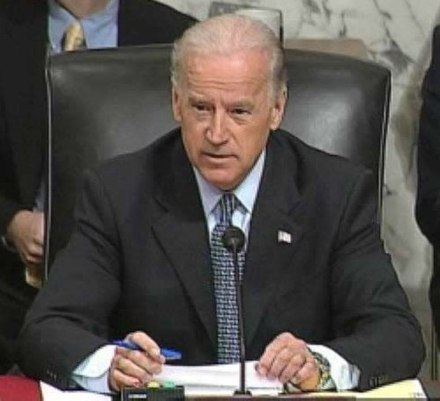 Biden gives an opening statement and questions at a Senate Foreign Relations Committee hearing on Iraq in 2007 Bidenpetraeus.jpg