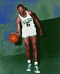 Bill Russell dribbling Boston Celtics