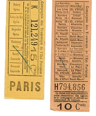 Public transport fares in the Île-de-France - Image: Billets de tramway Est Parisien