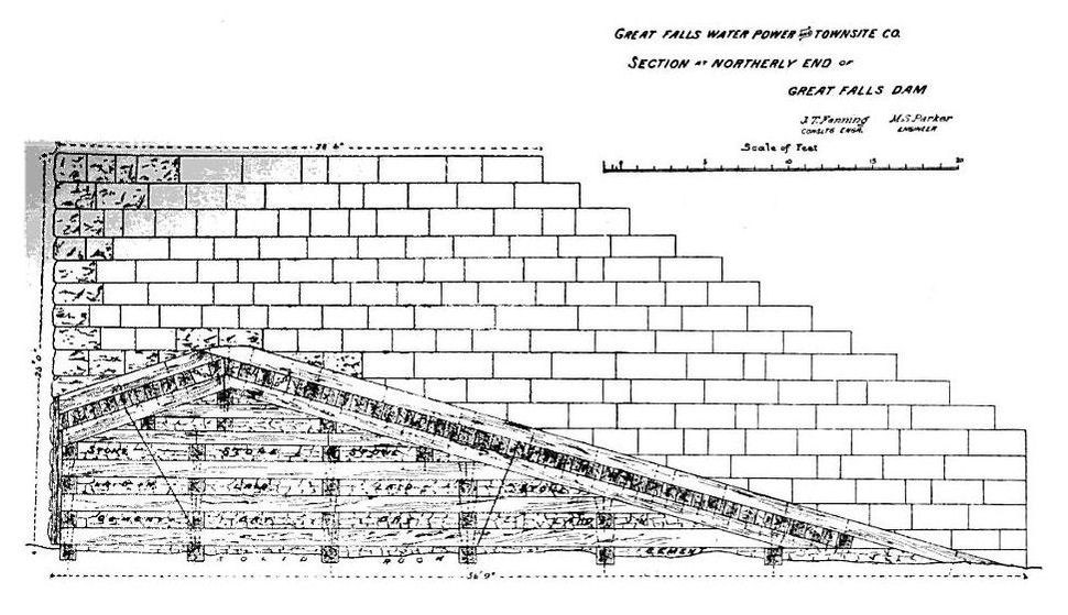 Black Eagle Dam - cross-section of construction plans for 1892 structure