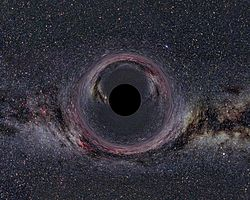 A (simulated) Black Hole of ten solar masses as seen from a distance of 600km with the Milky Way in the background (horizontal camera opening angle: 90°).