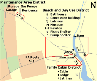 Black Moshannon State Park Historic Districts - Map of Black Moshannon State Park with the outlines of the three Historic Districts shown in red and buildings in black