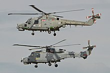 A Lynx HMA8RSU (top) operated by 815sqn and Wildcat HMA2.