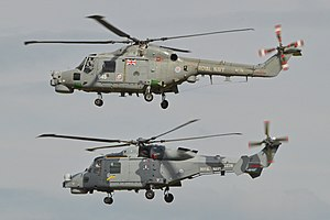 AgustaWestland AW159 Wildcat - An AW159 Wildcat flying alongside a Lynx, its predecessor, July 2014