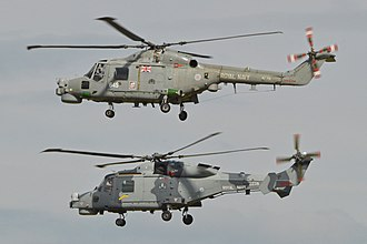RNAS Yeovilton (HMS Heron) - A Lynx HMA8RSU (top) operated by 815sqn and a Wildcat HMA2.