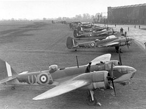 Tragedy at Kufra - A line-up of Bristol Blenheim Mark IVs, the same of type of aircraft forced down in the Kufra incident.